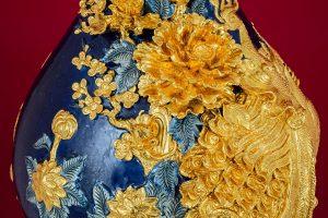 Tỳ Bà Phú Quý Trường Xuân đắp nổi men Coban vẽ vàng cao cấp Bát Tràng