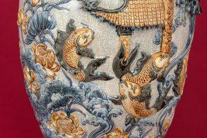 Bảo Bình Cá Chép Vượt Vũ Môn đắp nổi men rạn Cao Cấp Bát Tràng