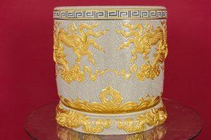 Bát hương men rạn đắp nổi Rồng Chầu Nguyệt dát vàng cao cấp Bát Tràng