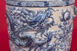Bát hương men rạn Rồng chầu ngọc đắp nổi men rạn xanh 20cm