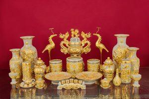 Bộ đồ thờ đắp nổi men rạn dát vàng cao cấp bát tràng số 32