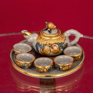 Bộ trà thờ đắp nổi men rạn thếp vàng cao cấp Bát Tràng