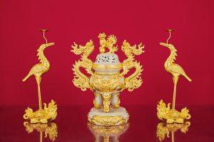 Đỉnh Hạc men rạn đắp nổi dát vàng cao cấp Bát Tràng