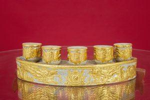 Kỷ cong men rạn đắp nổi Rồng Chầu Ngọc dát vàng cao cấp Bát Tràng 5 ly