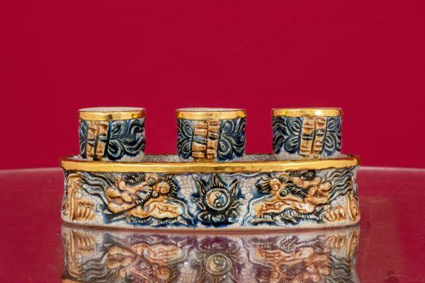 Kỷ Rồng Chầu Ngọc đắp nổi men rạn Thếp vàng cao cấp Bát Tràng