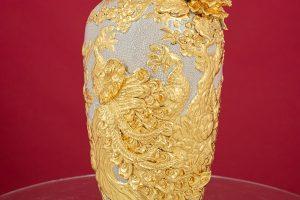 Lọ hoa Công Danh Phú Quý đắp nổi men rạn dát vàng cao cấp Bát Tràng