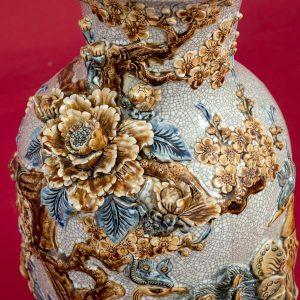 Lọ hoa Công Danh Phú Quý đắp nổi men rạn kênh bong cao cấp Bát Tràng