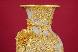 Lọ hoa Công Danh Phú Quý đắp nổi men rạn kênh bong dát vàng cao cấp Bát Tràng
