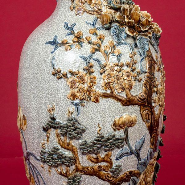 Lọ hoa men rạn đắp nổi Công Danh Phú Quý cao cấp Bát Tràng