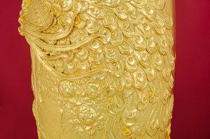 Lọ lọc bình đắp nổi men rạn Phú Quý Trường Xuân dát vàng toàn thân cao cấp Bát Tràng