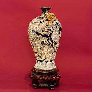 Mai bình Bách Điểu Chầu Hoàng đắp nổi men Coban vẽ vàng vàng cao cấp Bát Tràng