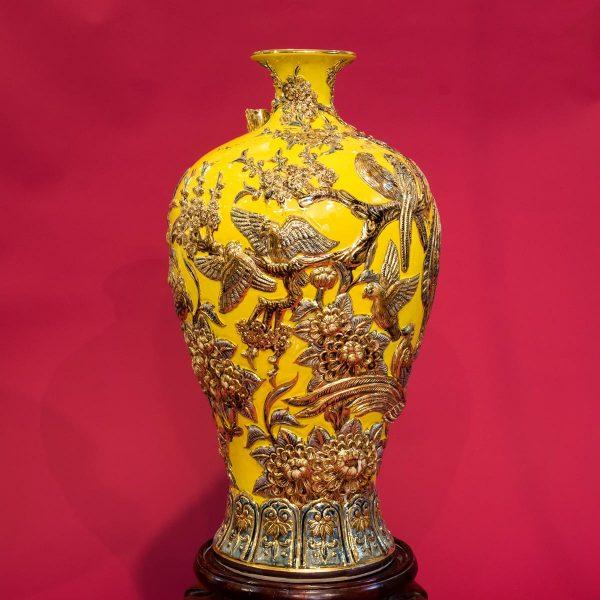Mai bình Bách Điểu Chầu Hoàng đắp nổi vẽ vàng cao cấp Bát Tràng