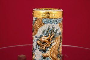 Ống hương Long Quấn Thủy đắp nổi men rạn bọc đồng thếp vàng Bát Tràng