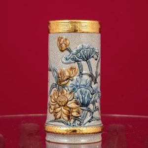 Ống hương Sen đắp nổi men rạn bọc đồng thếp vàng Bát Tràng