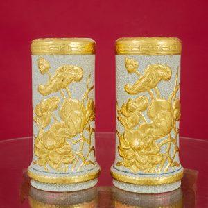 Ống hương Sen đắp nổi men rạn dát vàng vàng Bát Tràng