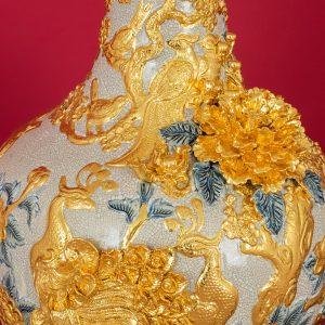 Tỏi đắp nổi men rạn Công Danh Phú Quý dát vàng cao cấp Bát Tràng