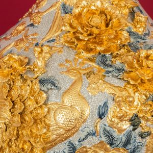 Tỏi đắp nổi men rạn Phú Quý Trường Xuân dát vàng cao cấp Bát Tràng