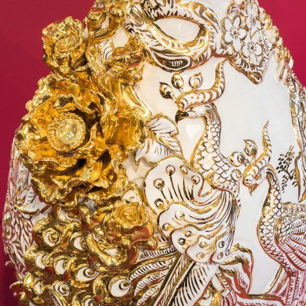 Tỳ Bà Phú Quý Trường Xuân đắp nổi vẽ vàng cao cấp Bát Tràng