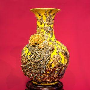 Tỏi men rạn đắp nổi Công Danh Phú Quý men Critine vẽ vàng cao cấp Bát Tràng