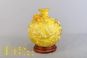 bình hút lộc tùng hạc diên niên Vàng dát vàng