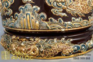 Bát Hương màu Nâu Hoàng Thổ vẽ vàng đắp nổi Long Chầu Nguyệt cao cấp Bát Tràng