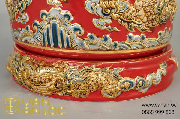 Bát Hương men Đỏ vẽ vàng đắp nổi Long Chầu Nguyệt cao cấp Bát Tràng