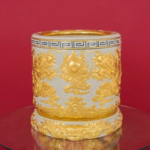 Bát Hương màu Rạn Dát vàng đắp nổi Long Chầu Nguyệt cao cấp Bát Tràng