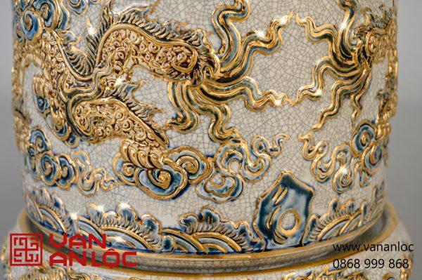 Bát Hương màu Rạn vẽ vàng đắp nổi Long Chầu Nguyệt cao cấp Bát Tràng