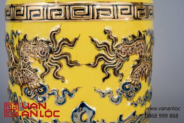 Bát Hương men Vàng vẽ vàng đắp nổi Long Chầu Nguyệt cao cấp Bát Tràng