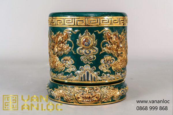 Bát Hương men Xanh Lục vẽ vàng đắp nổi Long Chầu Nguyệt cao cấp Bát Tràng